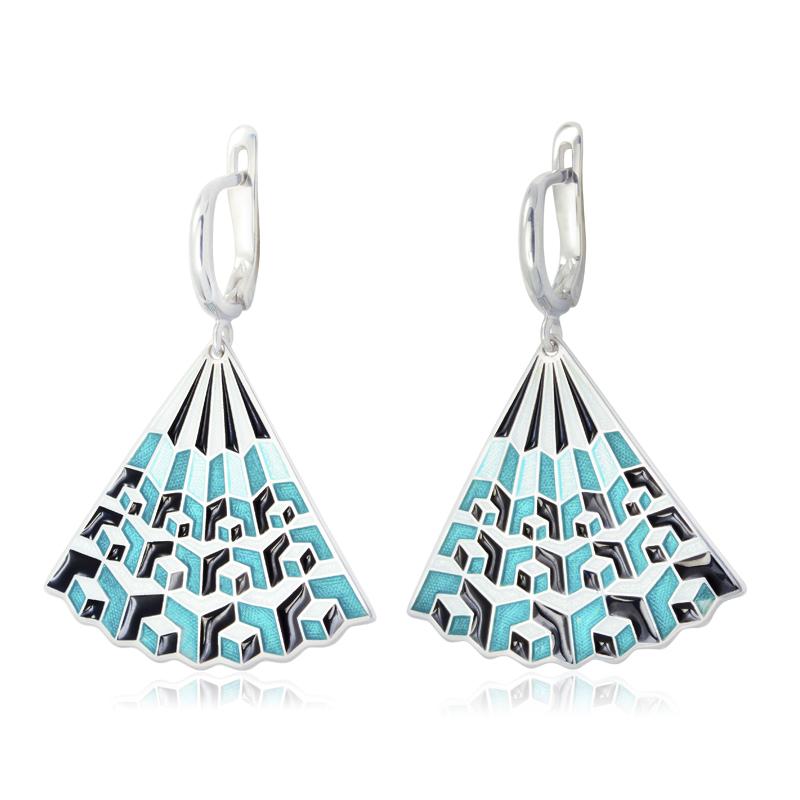 31 238 1s - Серьги-подвески «Невозможные фигуры» серебряные, голубая