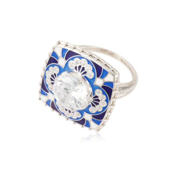 7 99 1s 2 600x600 - Перстень «Сады Семирамиды», синий с фианитами
