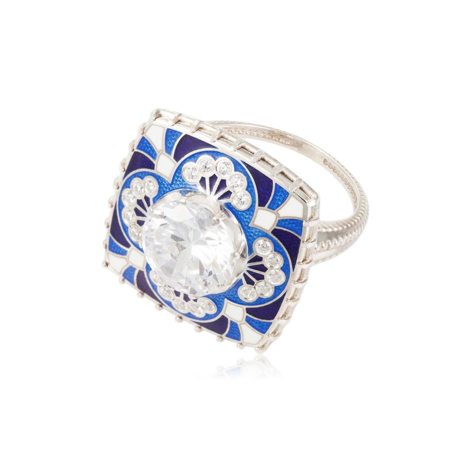 7 99 1s 2 - Перстень «Сады Семирамиды», синий с фианитами
