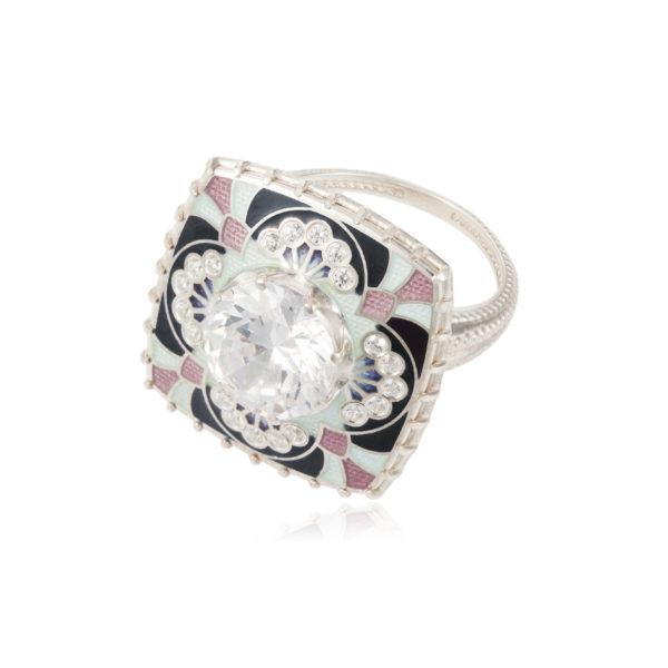 7 99 2s 600x600 - Перстень «Сады Семирамиды», розовый с фианитами