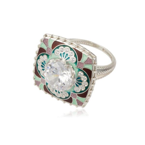 7 99 3s 600x600 - Перстень «Сады Семирамиды», зеленый с фианитами