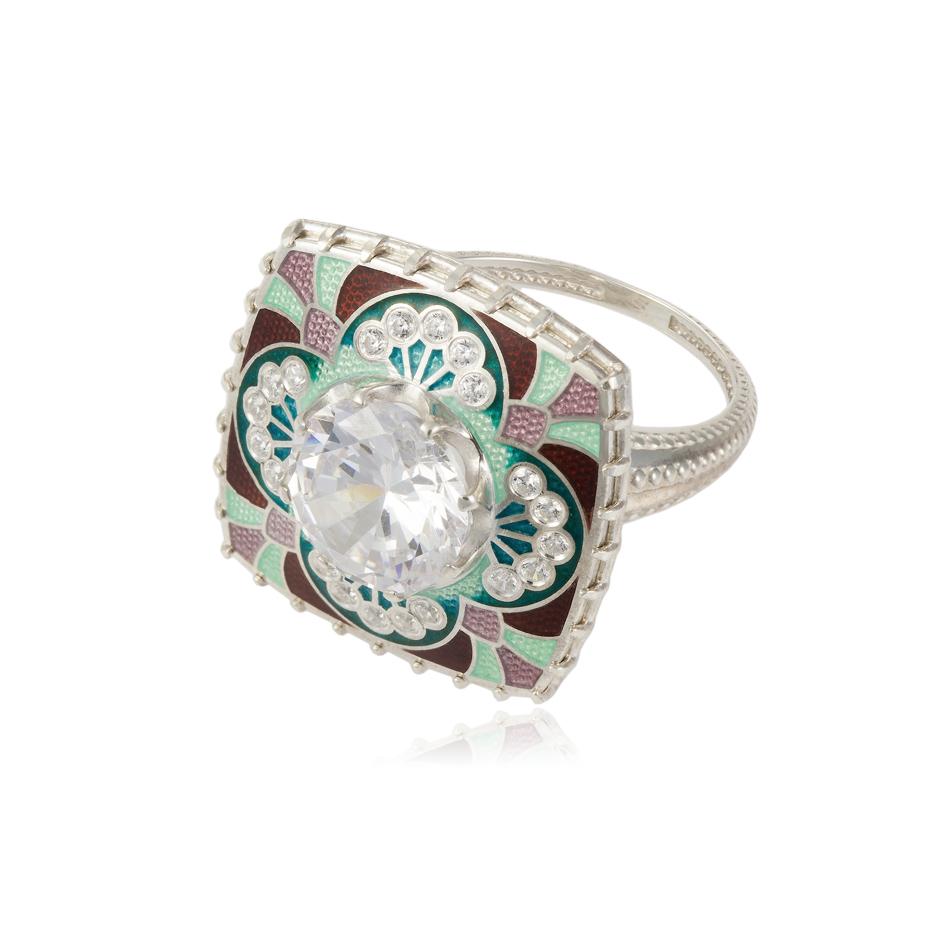 7 99 3s - Перстень «Сады Семирамиды», зеленый с фианитами