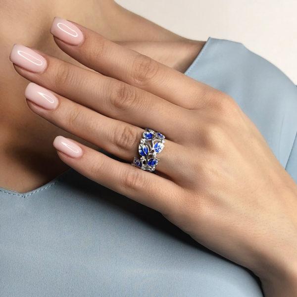 luchshe chem na sajte kolczo melissa sinyaya 600x600 - Кольцо из серебра «Мелисса», синее с фианитами