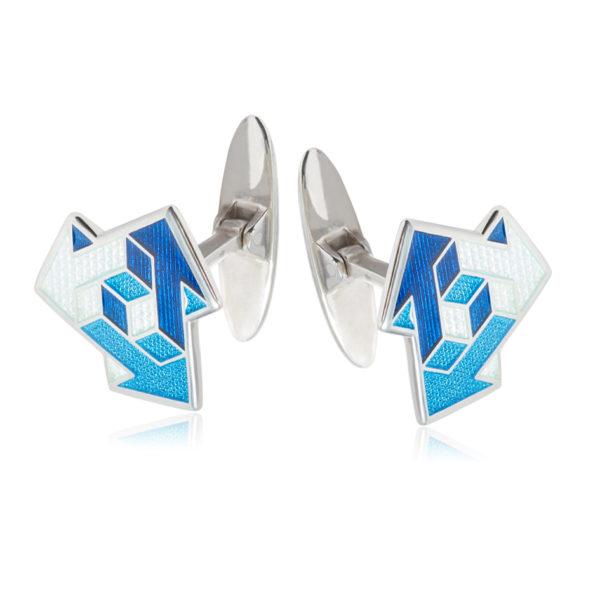 21 231 1s 1 600x600 - Серебряные запонки «Виа», синие