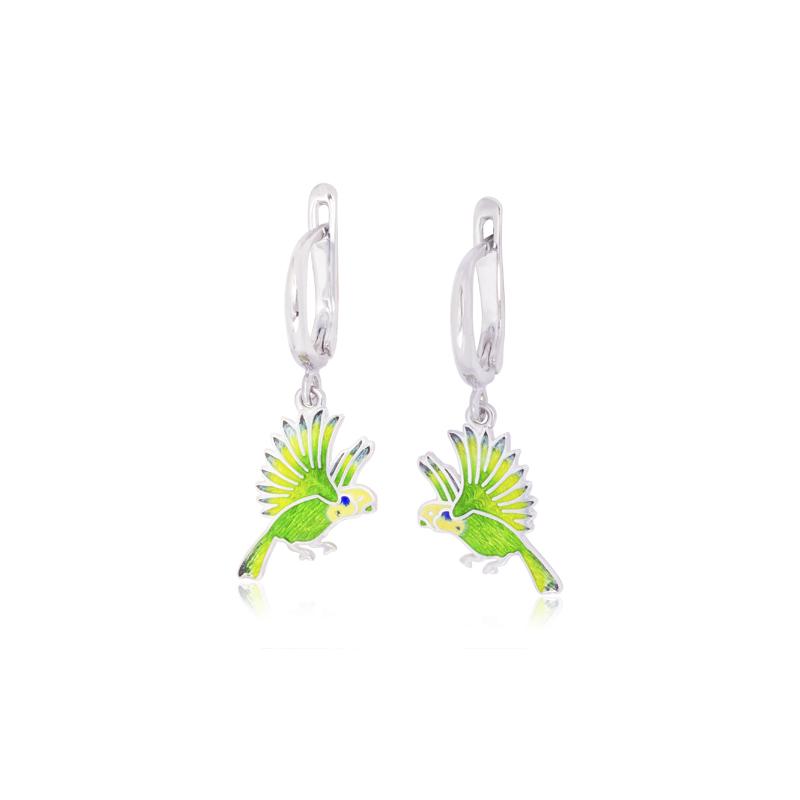 31 141sp 2s - Серьги-подвески из серебра «Попугаи», зеленые