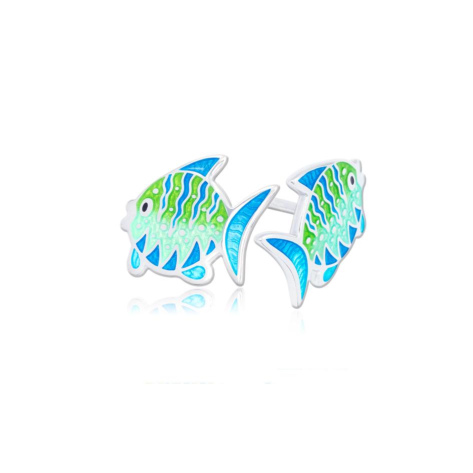 31 261 1s 1 - Пуссеты из серебра «Попугай», голубые