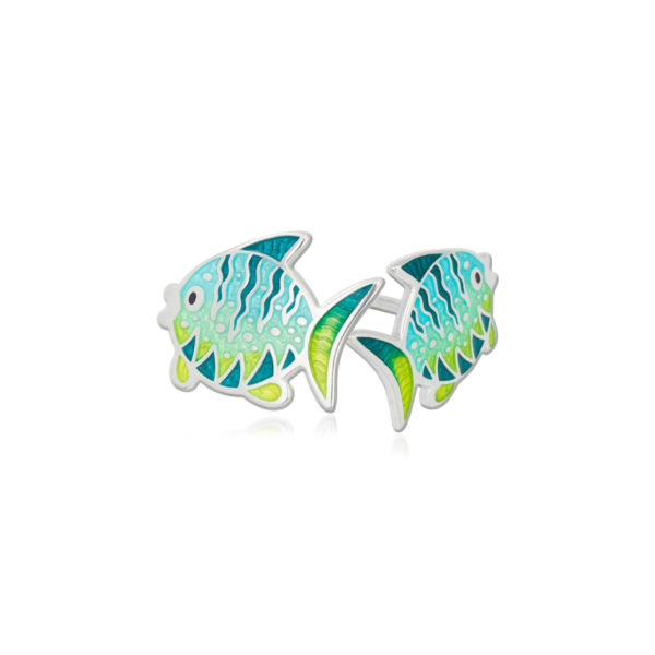 31 261 2s 1 600x600 - Пуссеты из серебра «Золотая рыбка», желтые