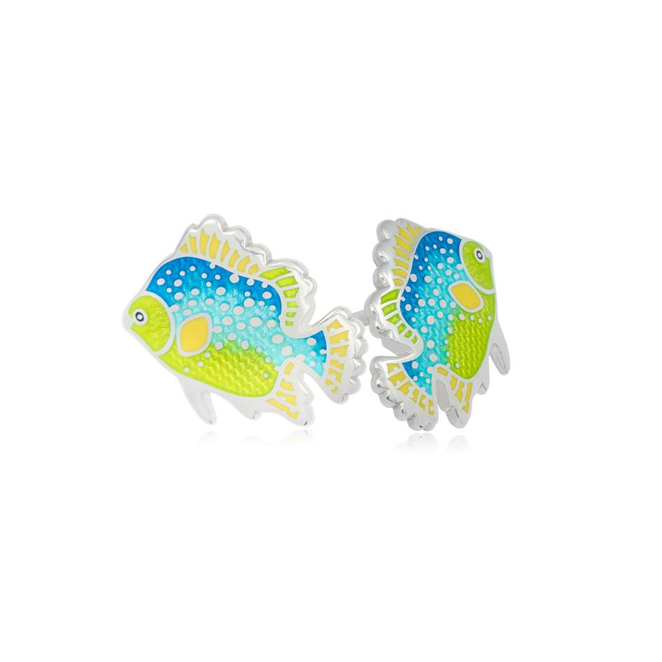 31 263 1s - Пуссеты из серебра «Лялиус»,зелено-голубые