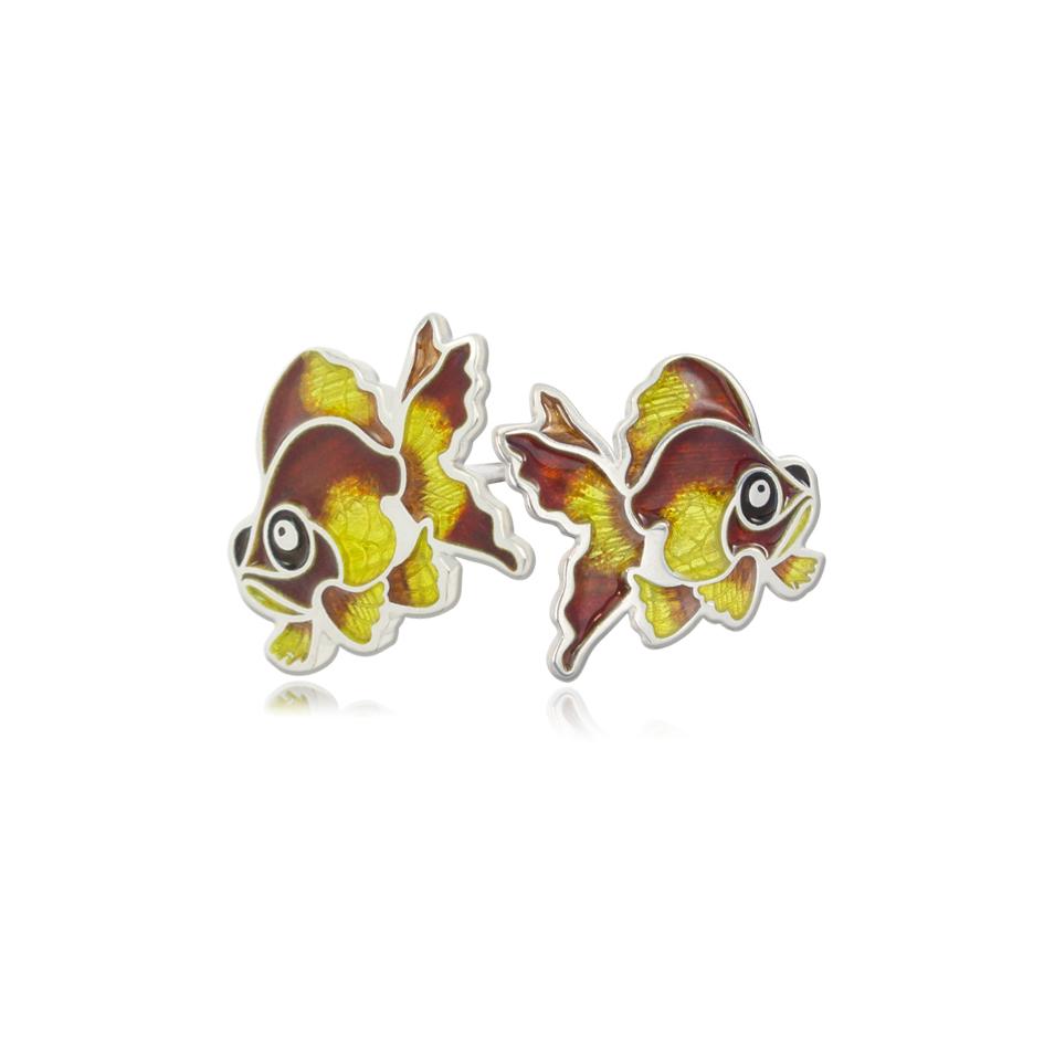 31 267 1s 1 - Пуссеты из серебра «Золотая рыбка», желтые
