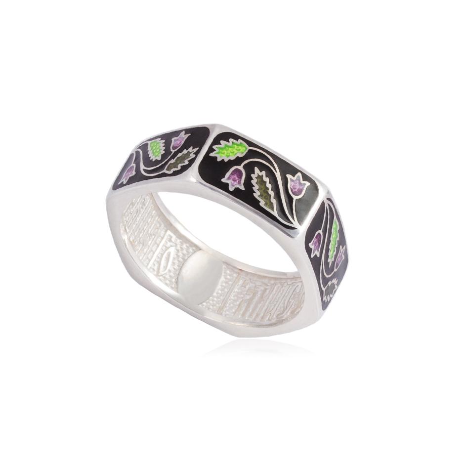 61 124 1s - Кольцо из серебра «Спас-на-крови», черное