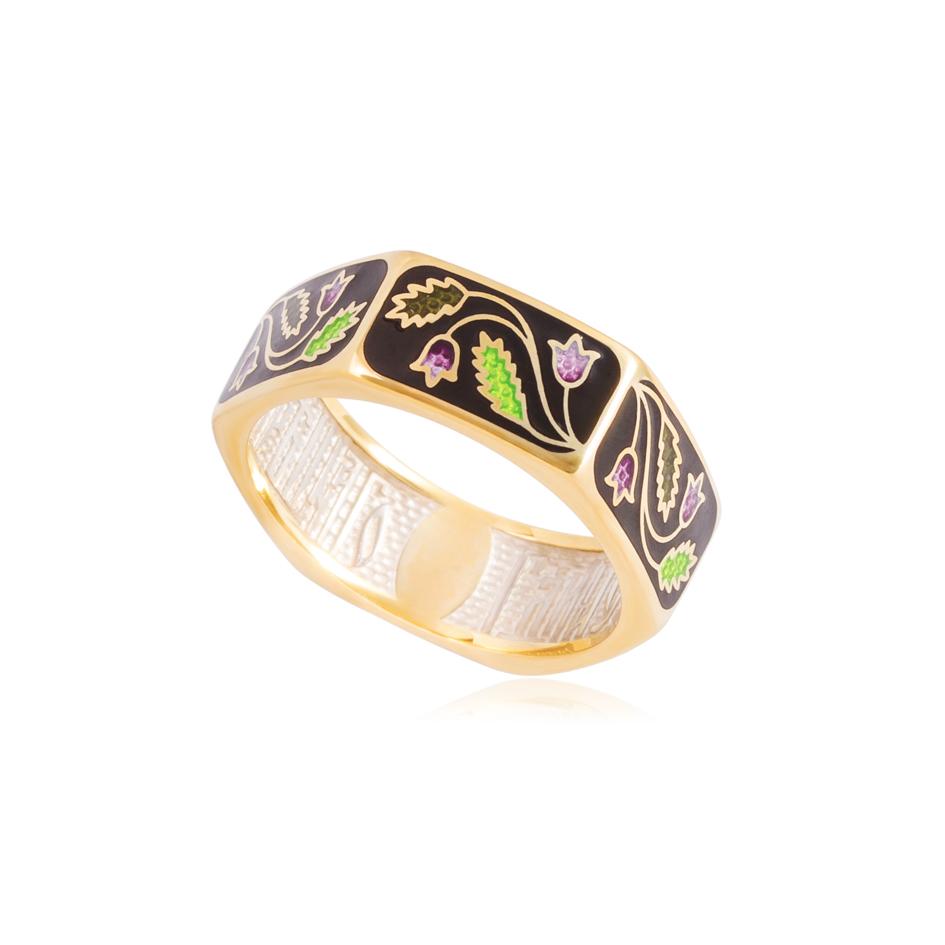 61 124 1z - Кольцо из серебра «Спас-на-крови» (золочение), фиолетовая
