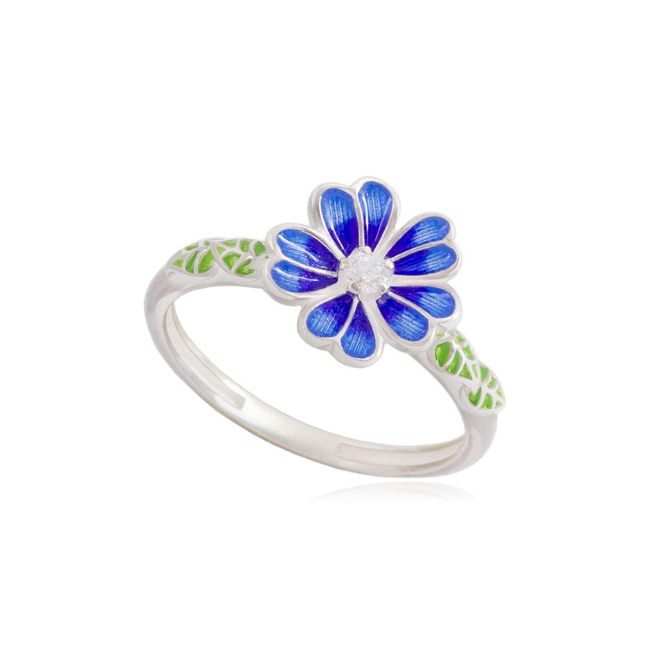 61 205 3s - Кольцо из серебра «Мальва», синее