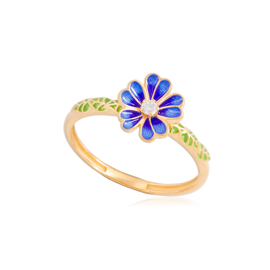 61 205 3z - Кольцо серебряное «Мальва» (золочение), синее
