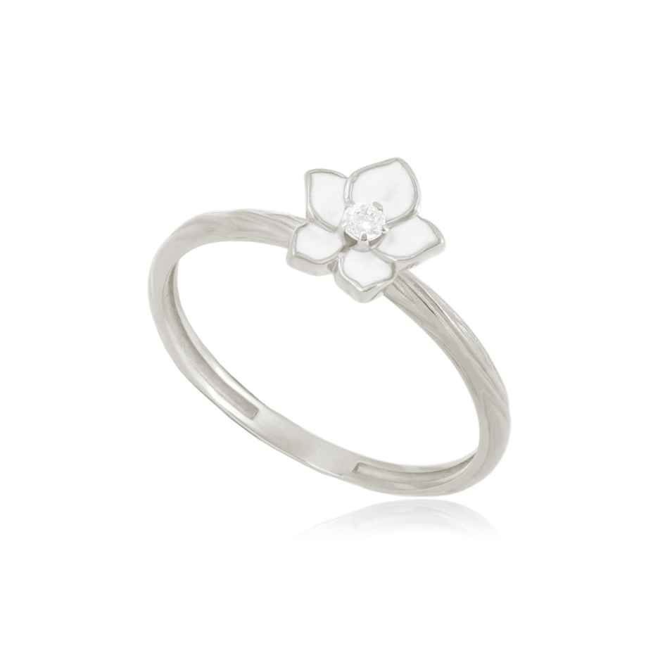 61 207 2s - Кольцо серебряное «Жасмин», белое