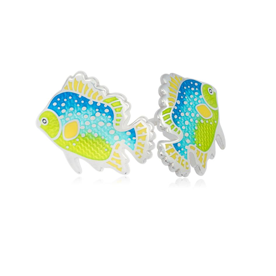 ryb2 - Пусеты из серебра «Лялиус»,зелено-голубые