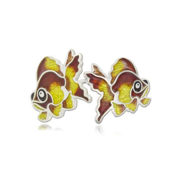 ryb5 600x600 - Пуссеты из серебра «Золотая рыбка», желтые