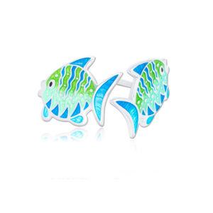 ryb7 300x300 - Пуссеты из серебра «Попугай», голубые