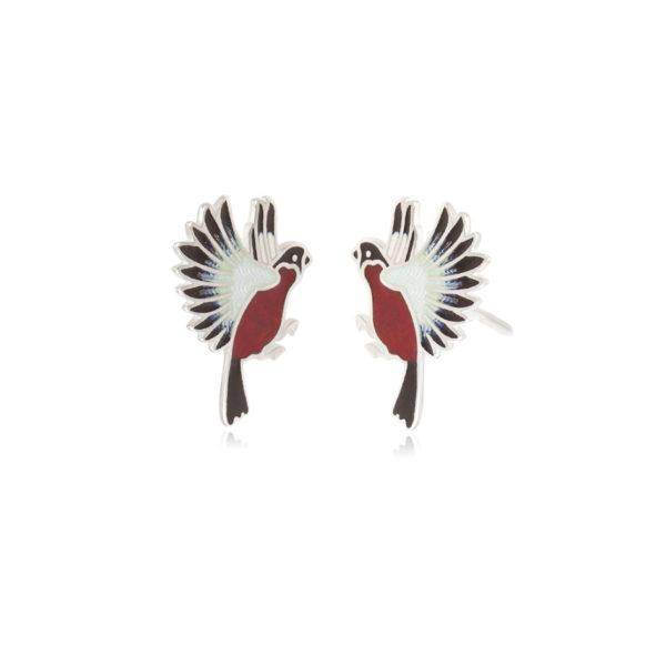 3.140p krasnaya snegiri 600x600 - Серьги-подвески из серебра «Снегири», красные