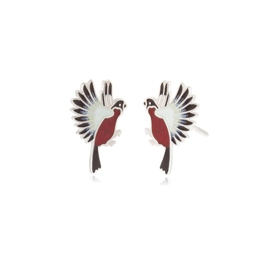 3.140p krasnaya snegiri - Пусеты из серебра «Снегири», красные