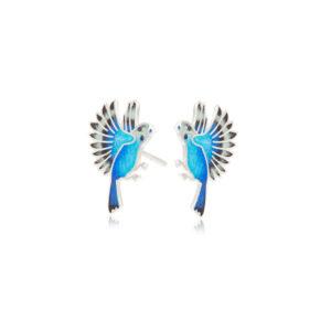 3.140p sinyaya 300x300 - Пуссеты из серебра «Попугаи», синие