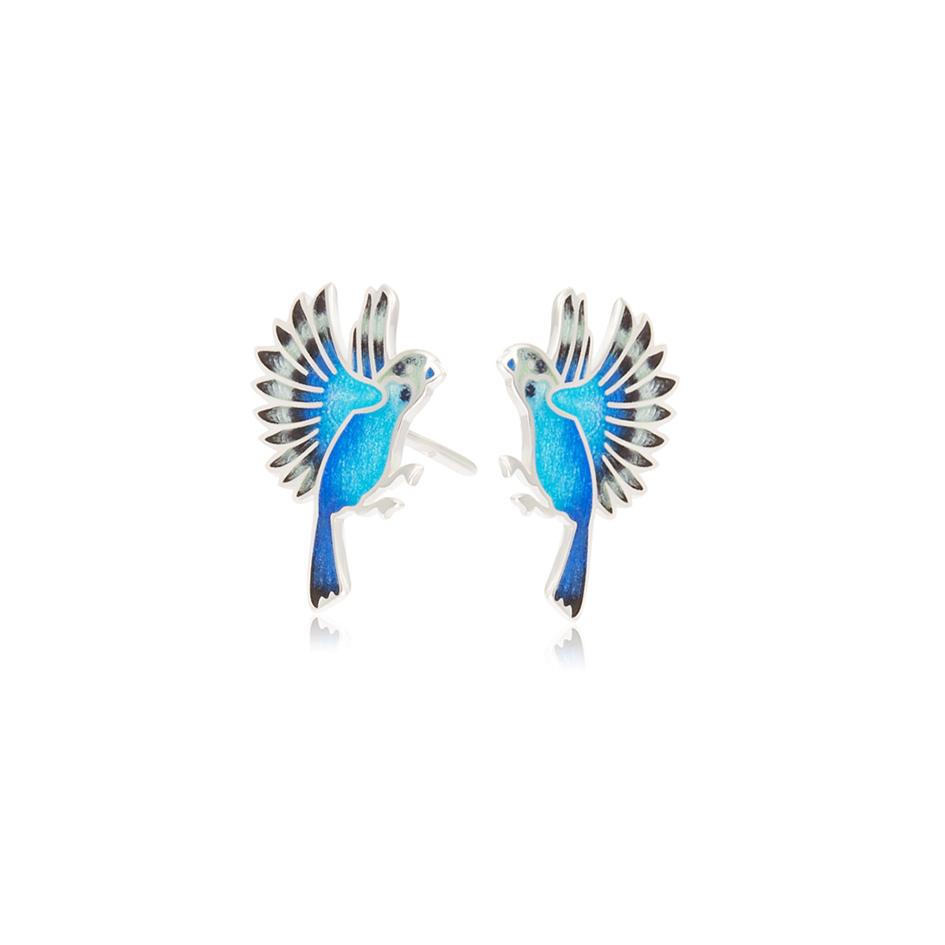3.140p sinyaya - Пуссеты из серебра «Попугаи», синие