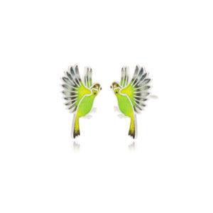 3.140p zelenaya 1 300x300 - Пуссеты из серебра «Попугаи», зеленые