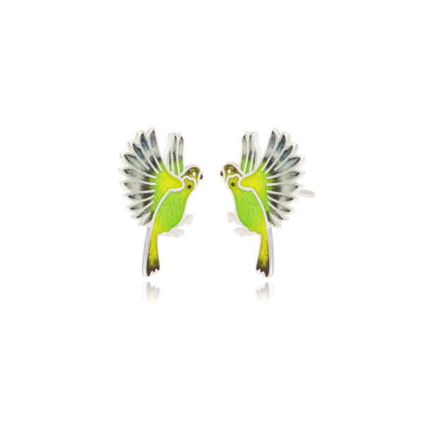 3.140p zelenaya 1 600x600 - Пуссеты из серебра «Попугаи», зеленые