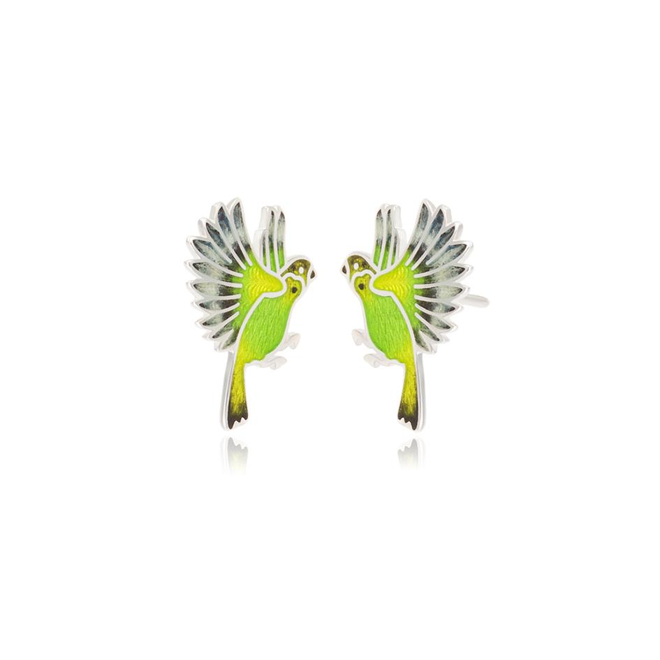 3.140p zelenaya 1 - Пуссеты из серебра «Попугаи», зеленые