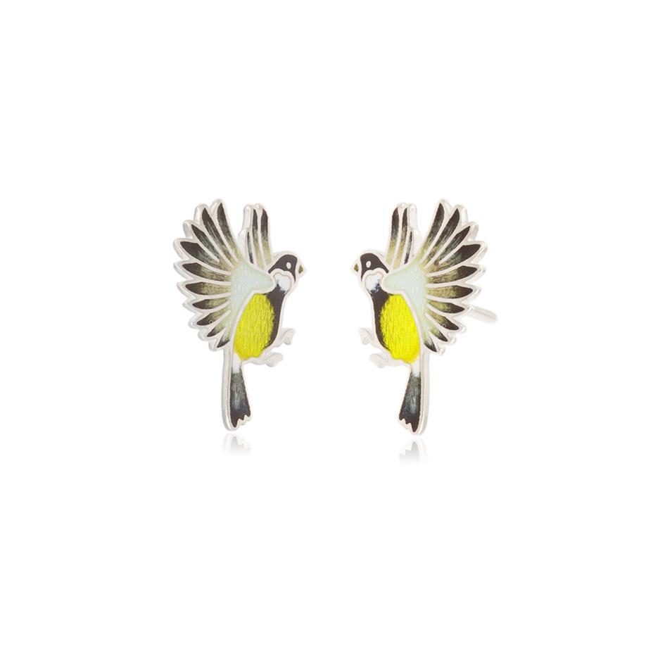 3.140p zheltaya sinichki - Пуссеты из серебра «Синички», желтые