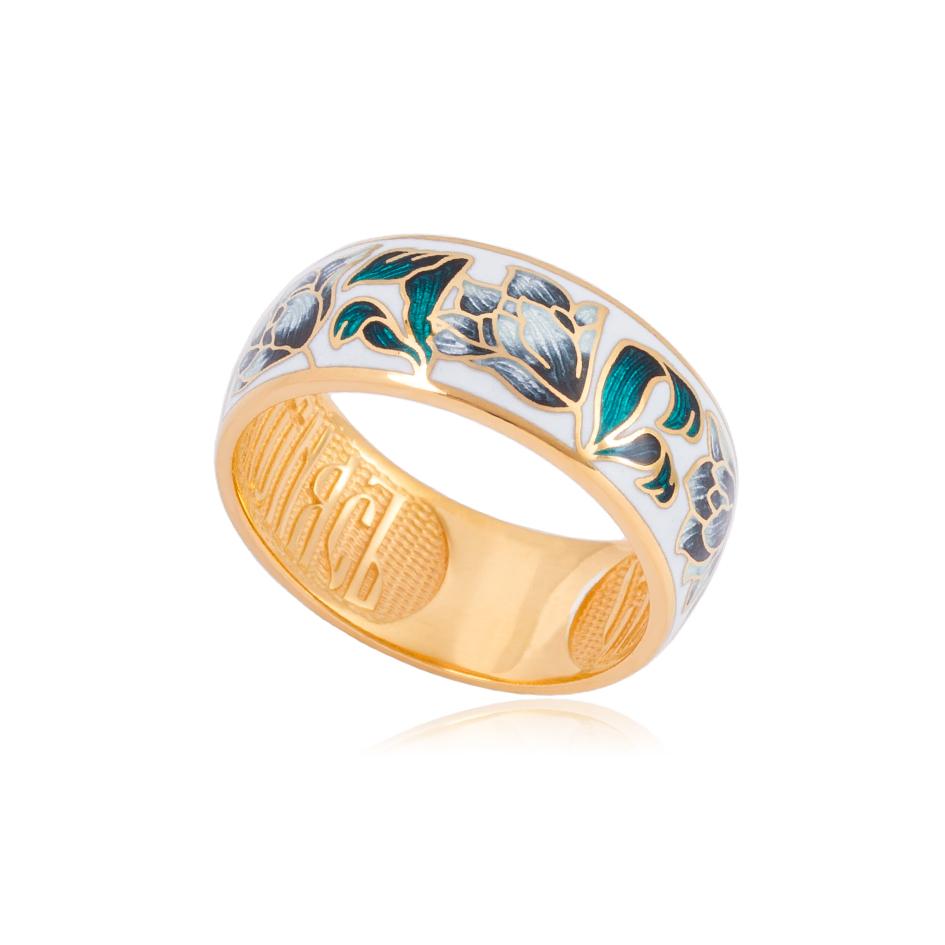61 136 4z - Кольцо из серебра «Тюльпаны» (золочение), дымчатое