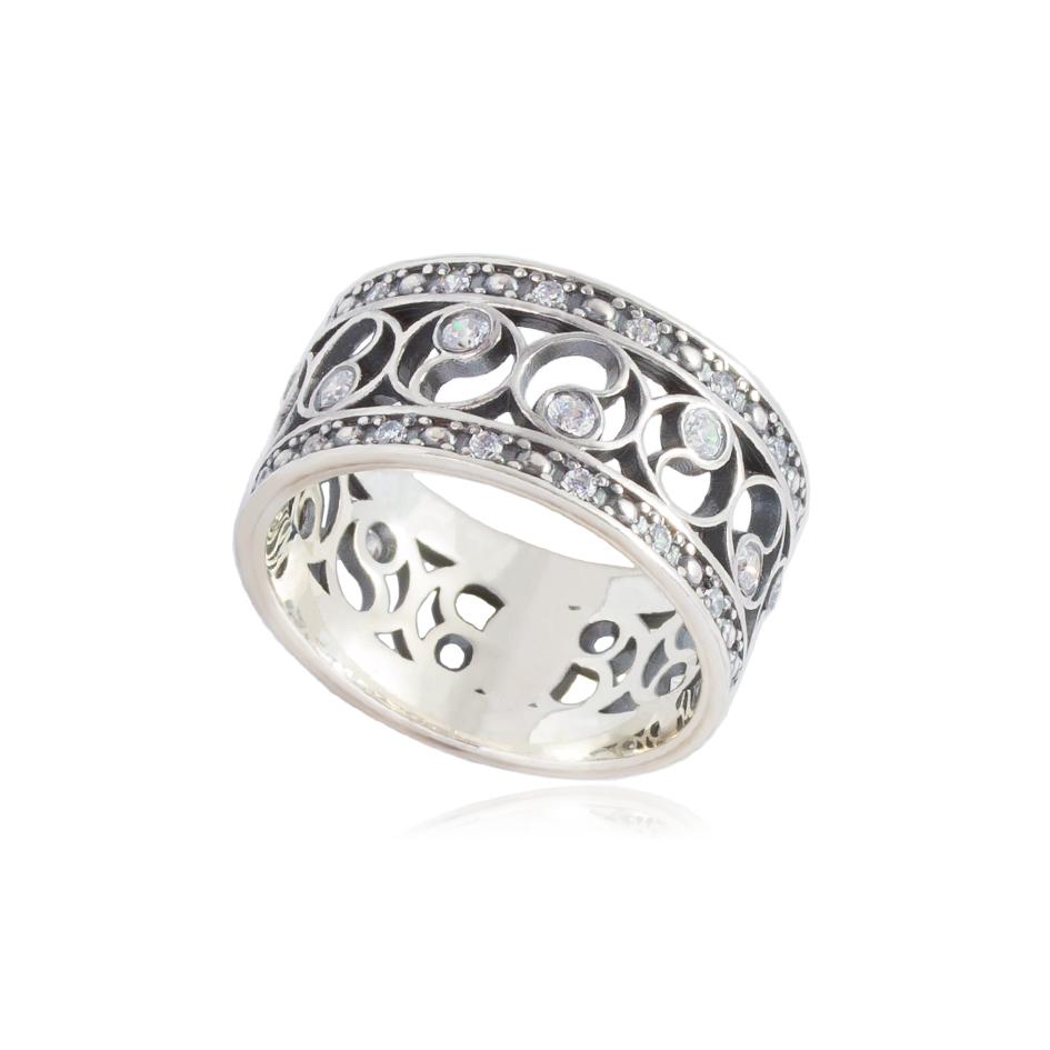61 239s - Кольцо из серебра «Фэншуй» с фианитами