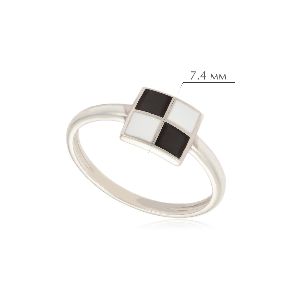 malevich - Кольцо из серебра «Малевич», черно-белое