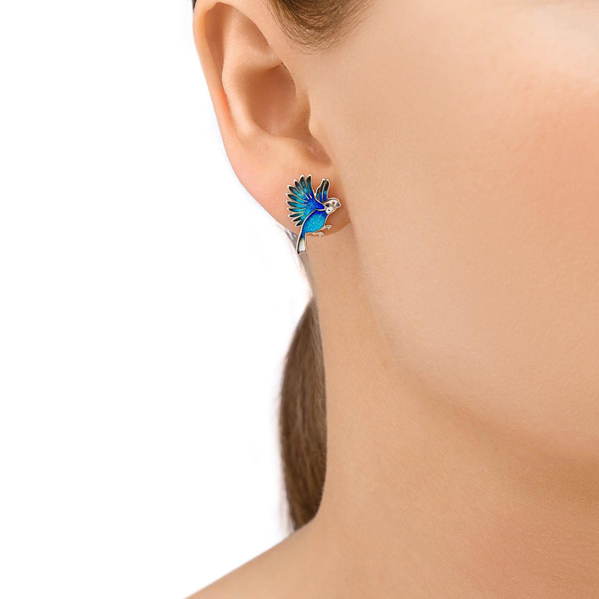 pusety 31.140p sinie - Пусеты из серебра «Попугаи», синие