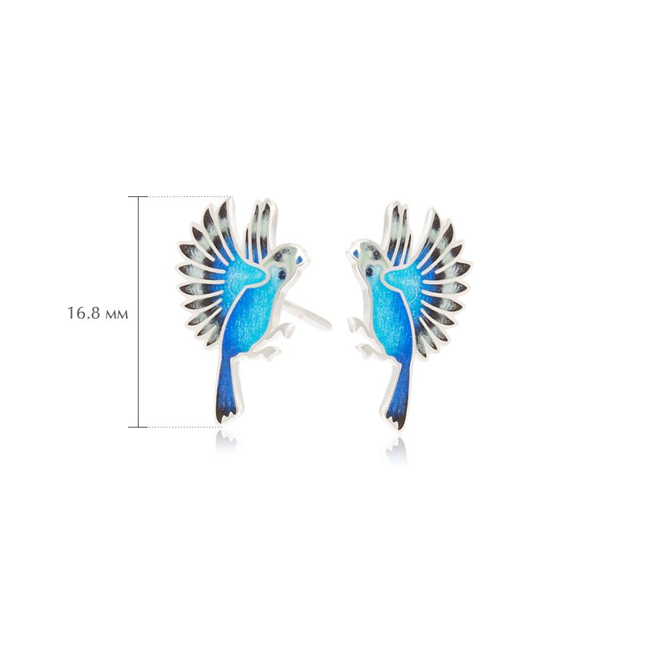 pussety popugai sinie - Пусеты из серебра «Попугаи», синие