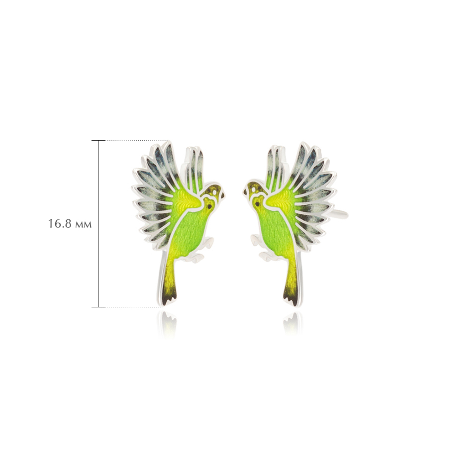 pussety popugai zelenye - Пусеты из серебра «Попугаи», зеленые