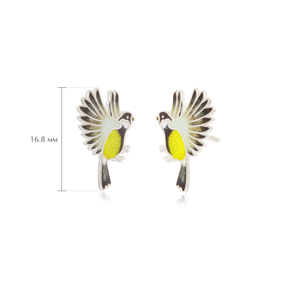 pussety sinichki - Пусеты из серебра «Синички», желтые