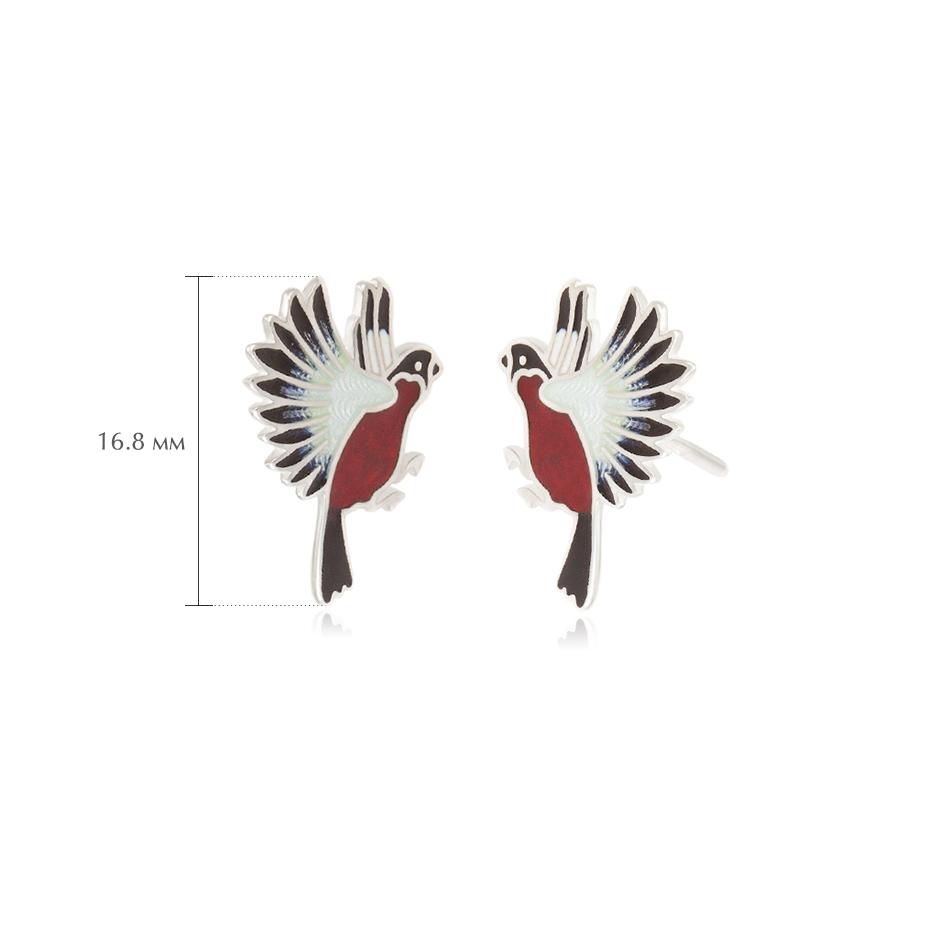 pussety snegiri - Пусеты из серебра «Снегири», красные