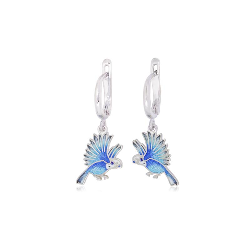 sergi podveski ptichki massh - Серьги-подвески из серебра «Попугаи», синие