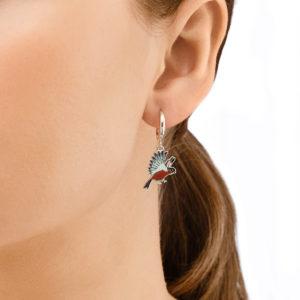 sergi ptichki 31.140.1 krasnye 300x300 - Серьги-подвески из серебра «Снегири», красные