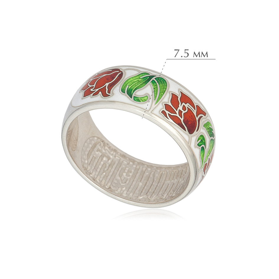 tyulpany 5 - Кольцо из серебра «Тюльпаны», красно-белое