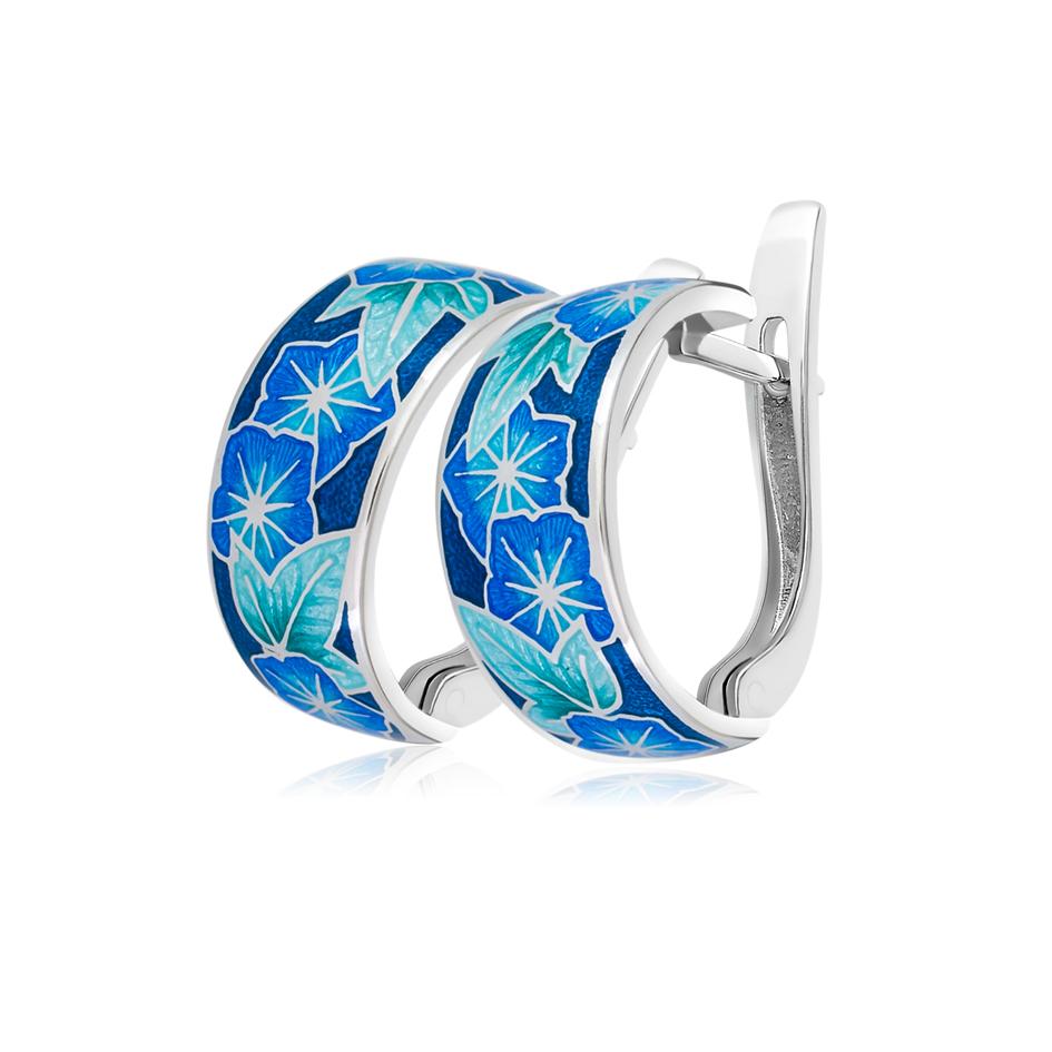 3 04 2s - Серьги-полукольца из серебра «Петуния», голубые (Копировать)