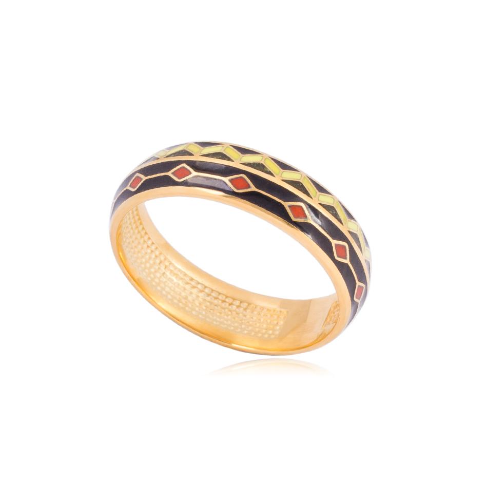 61 187 1z - Кольцо из серебра «Мозаика» (золочение)