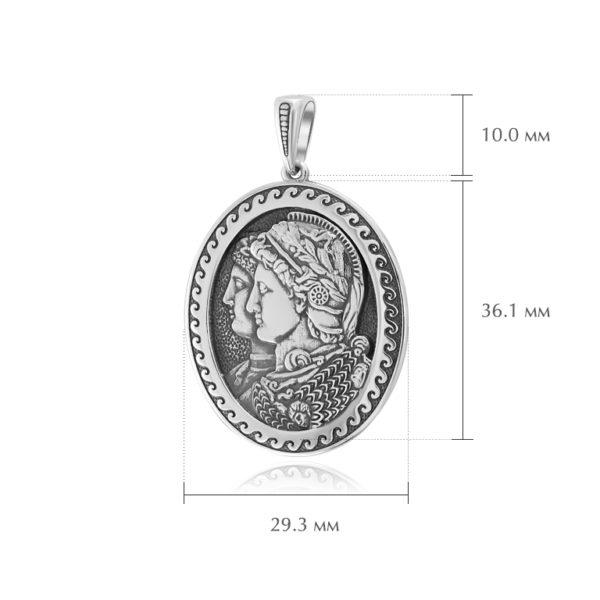 kameya gonzaga razmery 600x600 - Серебряная подвеска «Камея Гонзага»