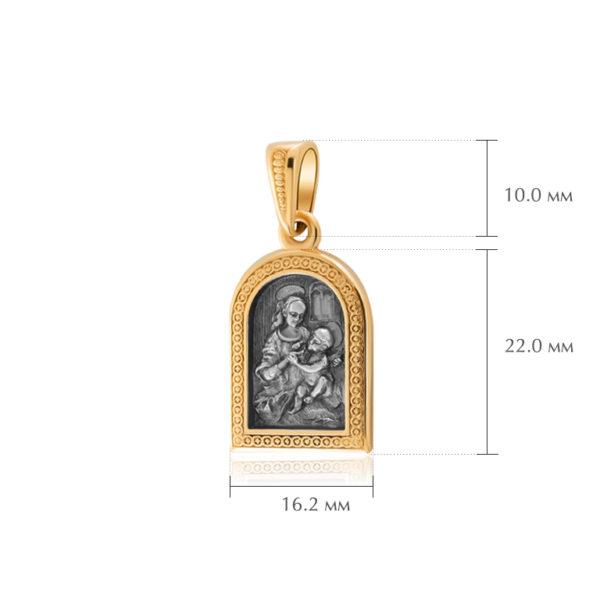 madonna benua razmery 600x600 - Серебряная подвеска «Мадонна Бенуа» (золочение)