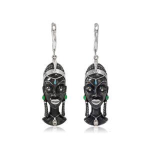 31 280 300x300 - Серебряные серьги «Африканская маска Куайя»