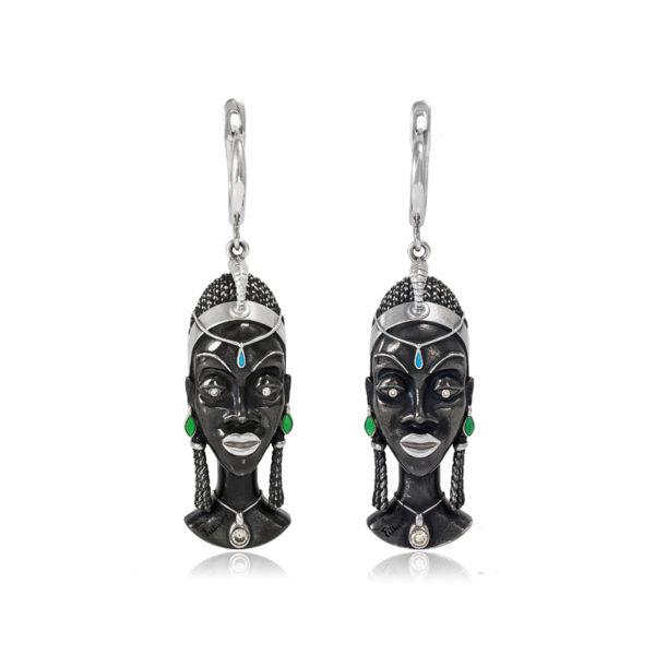 31 280 600x600 - Серебряные серьги «Африканская маска Куайя»