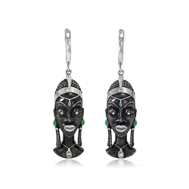 31 280 - Серебряные серьги «Африканская маска Куайя»