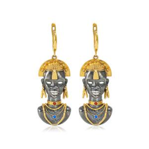 31 281z 300x300 - Серебряные серьги «Африканская маска Оконга» (золочение), салатовые