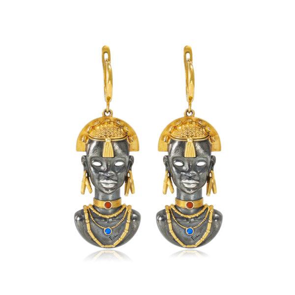 31 281z 600x600 - Серебряные серьги «Африканская маска Миона» (золочение)