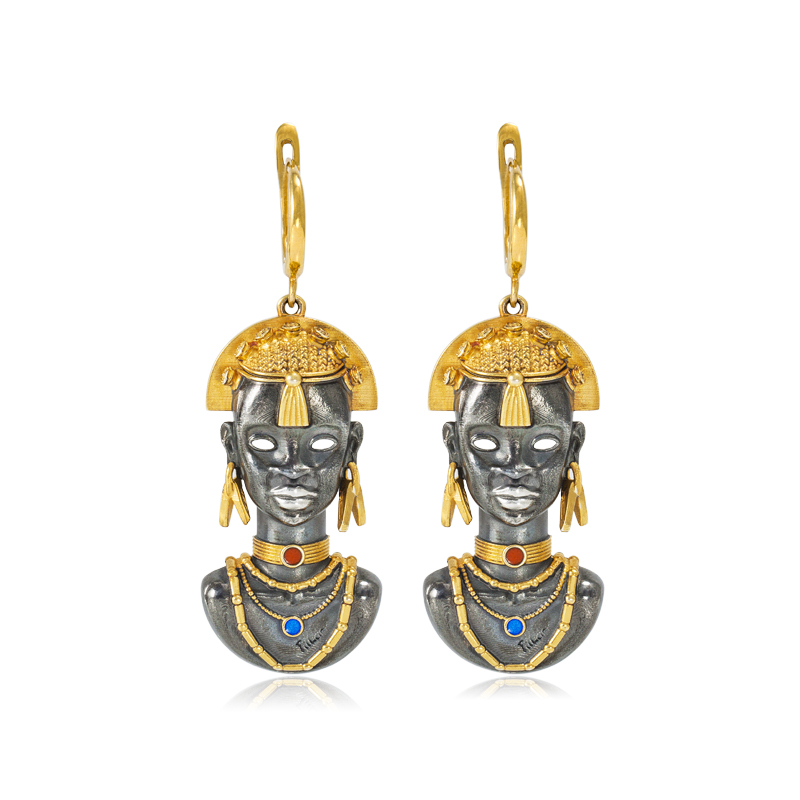 31 281z - Серебряные серьги «Африканская маска Миона» (золочение)